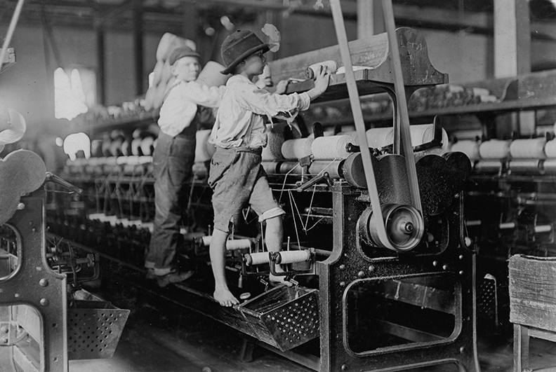 Children working in a textile mill before child labor laws were instituted in the United States of America.