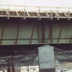 Safety netting installed beneath a bridge during constrion.