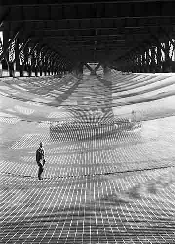Safety netting installed beneath The Golden Gate Bridge