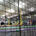 Dodge-ball is fun and safe with trampoline park netting.