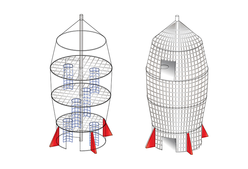A design for rocket-ship climbing structure.