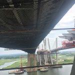 Safety netting installed under a bridge.