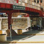 Safety netting installed on a pedestrian bridge.