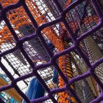 Climbing nets in a multi level climbing structure.