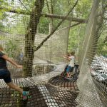 Children playing in a netted play area