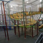 Multi level climbing structures using netting
