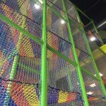 Colorful climb netting for trampoline parks