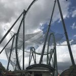 Safety netting to catch falling debris on The Hulk roller coaster at Universal Studios