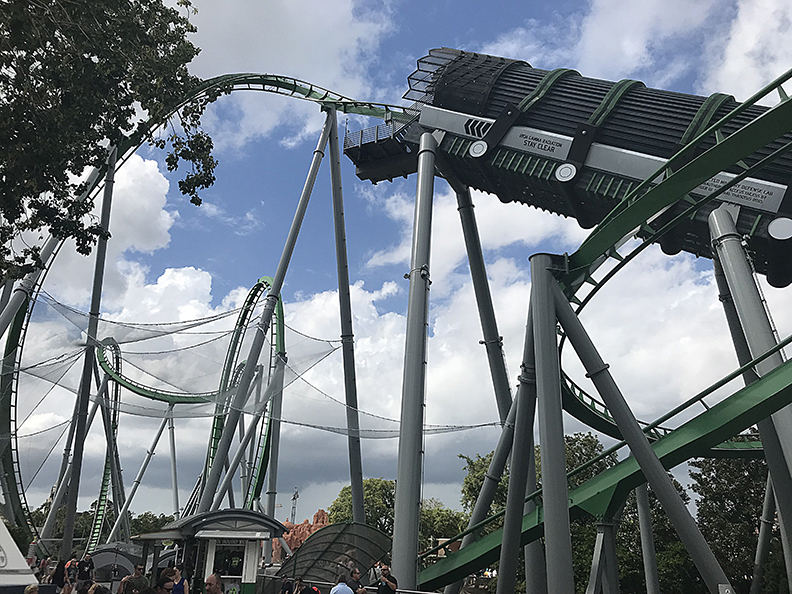 A public safety debris netting system, installed on The Hulk roller coaster.