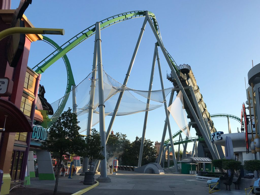 A public protection net system installed on The Hulk roller coaster at Universal Studios, in Orlando, Florida.