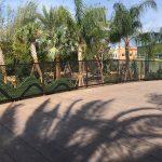 A barrier railing at an amusement park, made of mesh netting.