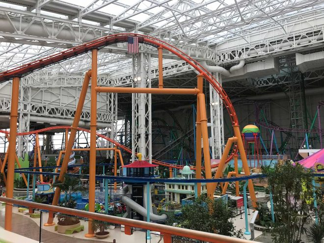 An indoor roller coaster at American Dream, New Jersey.