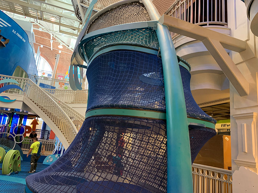 Multicolored climbing nets installed in The SkyClimber.