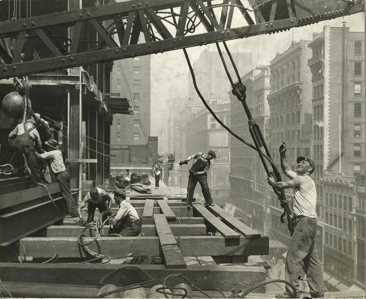 Laborers working on the construction of The Empire Sate Building.