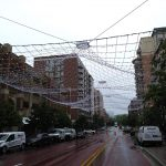 Netting suspended over a street