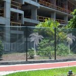 stenciled barrier netting for construction sites