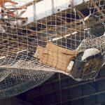 Debris caught in a safety net.