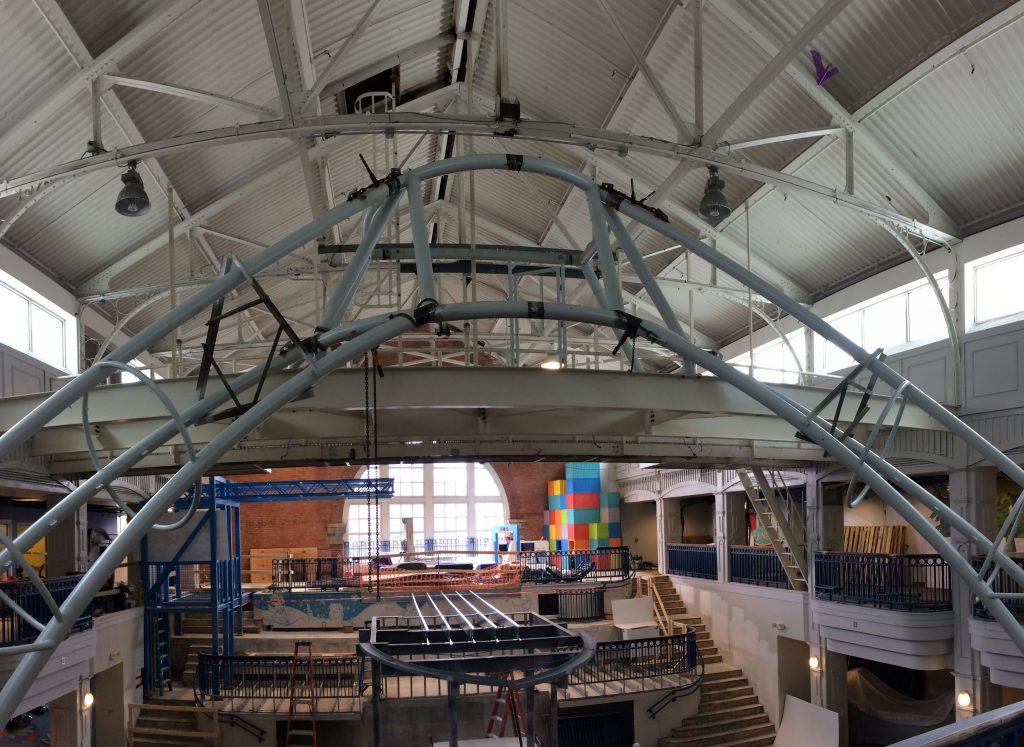 The SkyClimber climbing structure being constructed in Port Discovery Children's Museum.