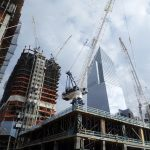 Construction safety netting installed on buildings at the Hudson Yards development in New York City.