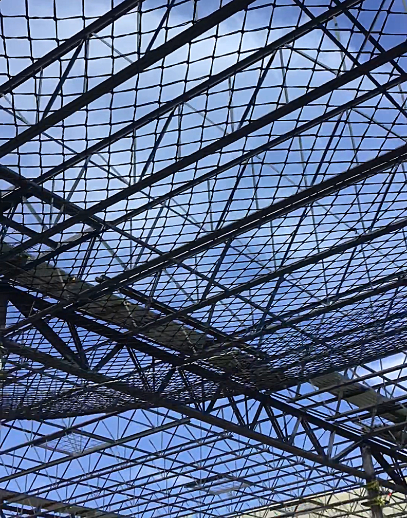 A safety netting system for steel frame structures.