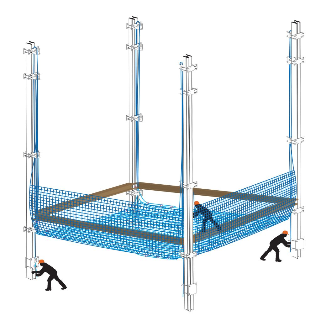 Installing a safety netting system for steel frame buildings