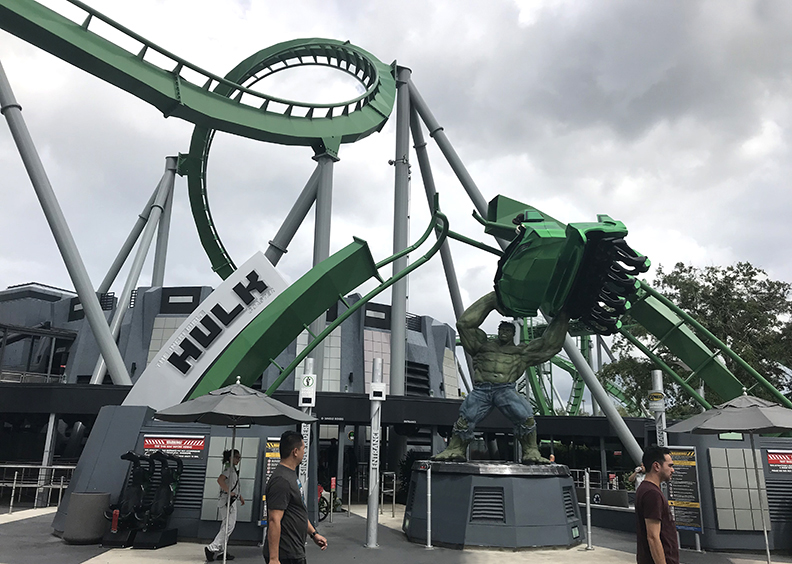 The entrance to the Hulk roller coaster at Universal Orlando in Florida, where public protection net systems have been installed.