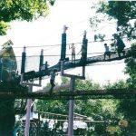 Views of rope bridges in an amusement park