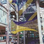 A multi-color tube net at a water park