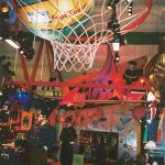 Giant basketball hoop display.