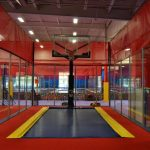 Basketball is more fun at a trampoline park.