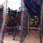 Mesh netting provides a barrier which people can see through.