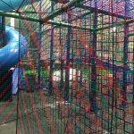 A maze constructed of soft barrier netting.