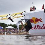 A flying machine at a Red Bull Flugtag contest.