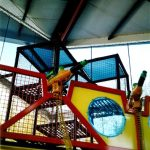 Barrier safety netting for an indoor water park.