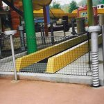 Barrier netting in a water park.