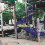 a climbing net ramp, made our shrinking net